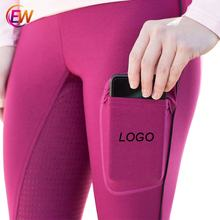 Ready To Ship Low MOQ  EW Horse Full Seat Silicone Breeches Black Color Horse Riding Leggings Equestrian Clothing