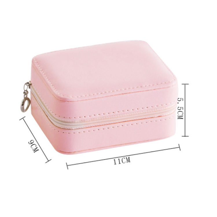 Custom Logo Portable Small Travel Three Layer PU leather Square Packing Box Jewelry With Zipper