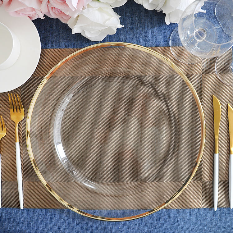 Wedding party gold rim clear glass charger plate for table decoration