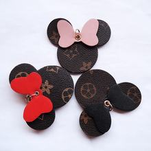 Wholesale High Quality Cute Cartoon Leather Women handbag Decoration Leather Mickey Mouse Car Keychain