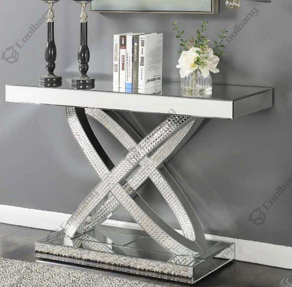 Hot sales X shape mosaic silver mirror decoration console table