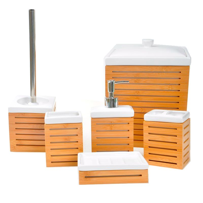 Natural Bamboo Wood 6-pcs Ceramic Bathroom Accessories Set
