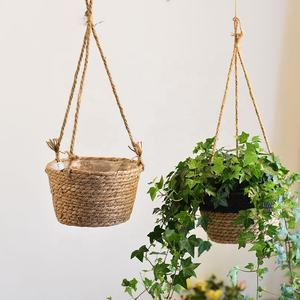 Home Garden Decoration Green Plant Potted Basket Straw Woven Rattan Hanging Flower Basket