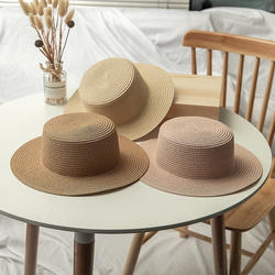 wholesale lady boater Sun hat Flat top Straw Beach hat round