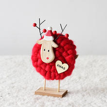 Hot sale DIY Wool Felt Creative Wooden Elk Handmade Crafts for Kids  Gift Christmas Decoration