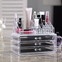 Popular 3 tier Clear Sliding Lid Compartment Acrylic makeup organizer plastic