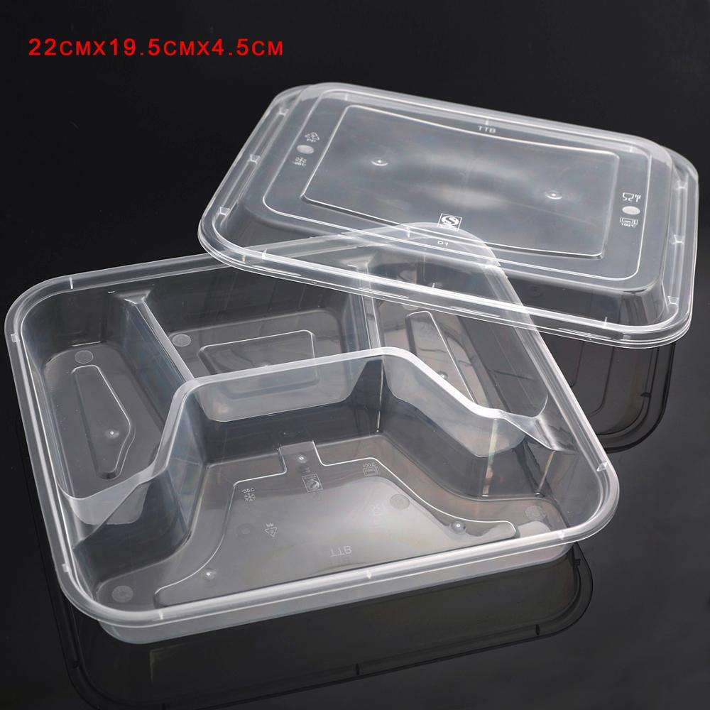 100pcs 4 compartment Disposable Lunch Bento Box