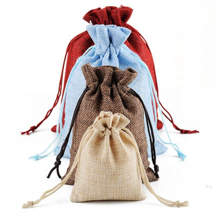 10x14cm Mini Jute Pouch Linen Hessian Hemp Drawstring Small Gift Packaging Bag Wedding Jewelry Ring Packing Pouch