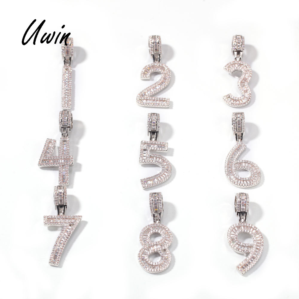 Iced Out Baguette Number Pendant 0 1 2 3 4 5 6 7 8 9 Charm Number Pendant Jewelry Necklace