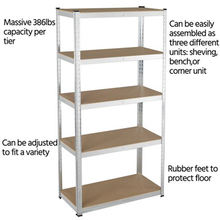 5 Tiers Boltless Storage Racking Garage Shelving Shelves Unit Stacking Racks For Home Office School Restaurand etc.