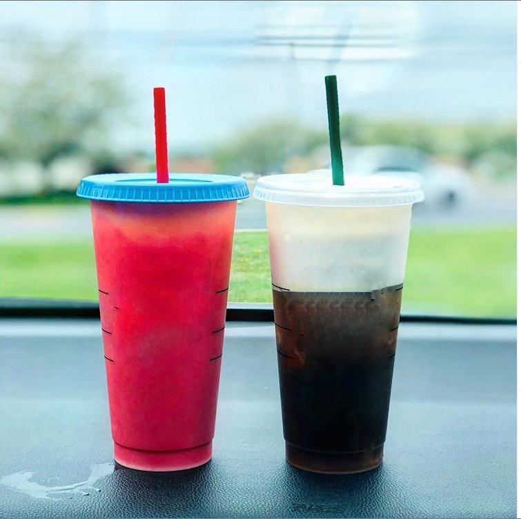 BPA free plastic coffee cup cold water color changing cup with lid and straw