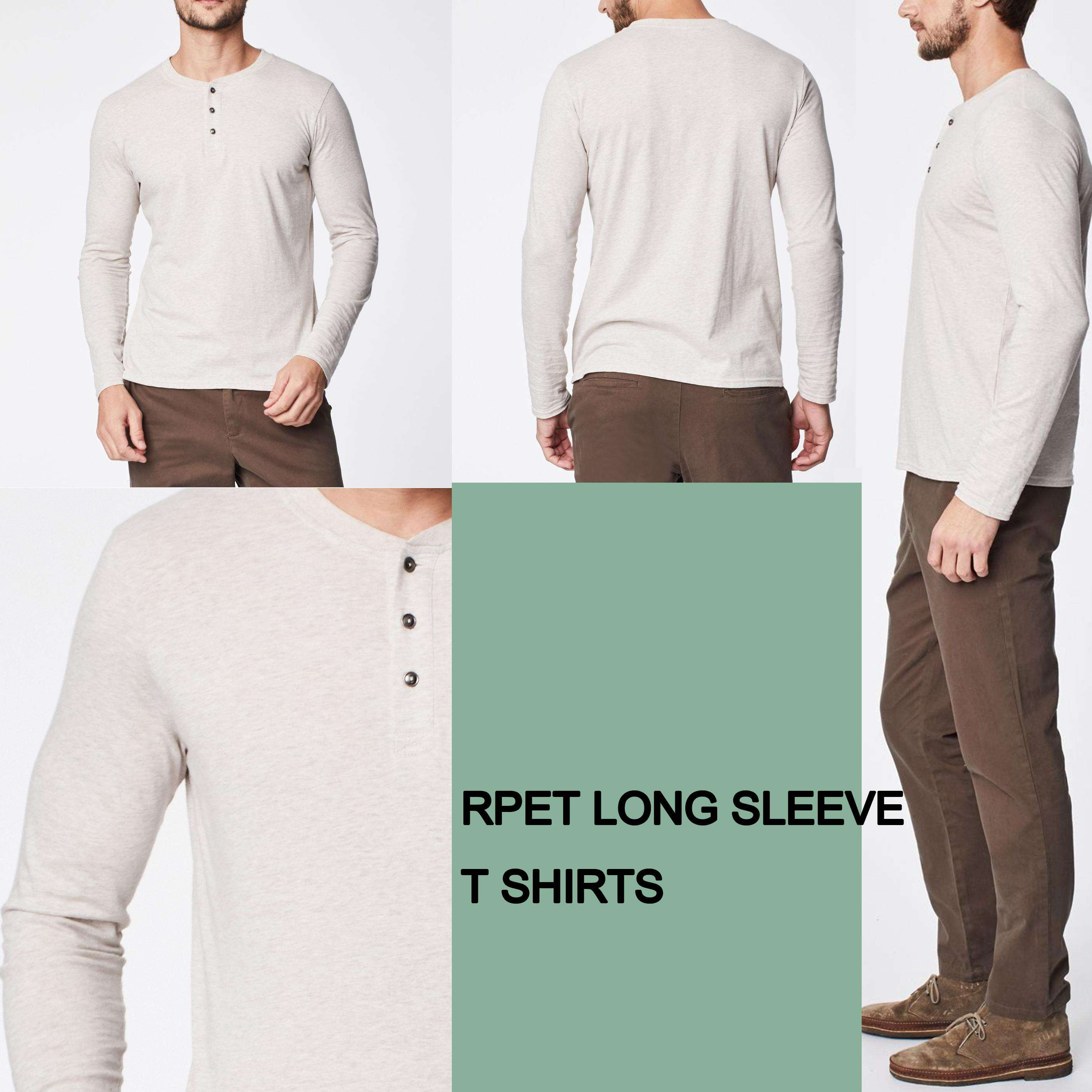 Fashion Mens Long Sleeves Straight Hem Round Neck Casual Slim Fit Bleach Rpet T Shirts Custom