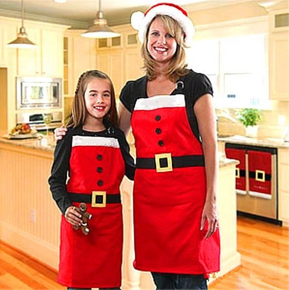 HB-6055 Wholesale xmas costumes accessories red christmas kitchen apron