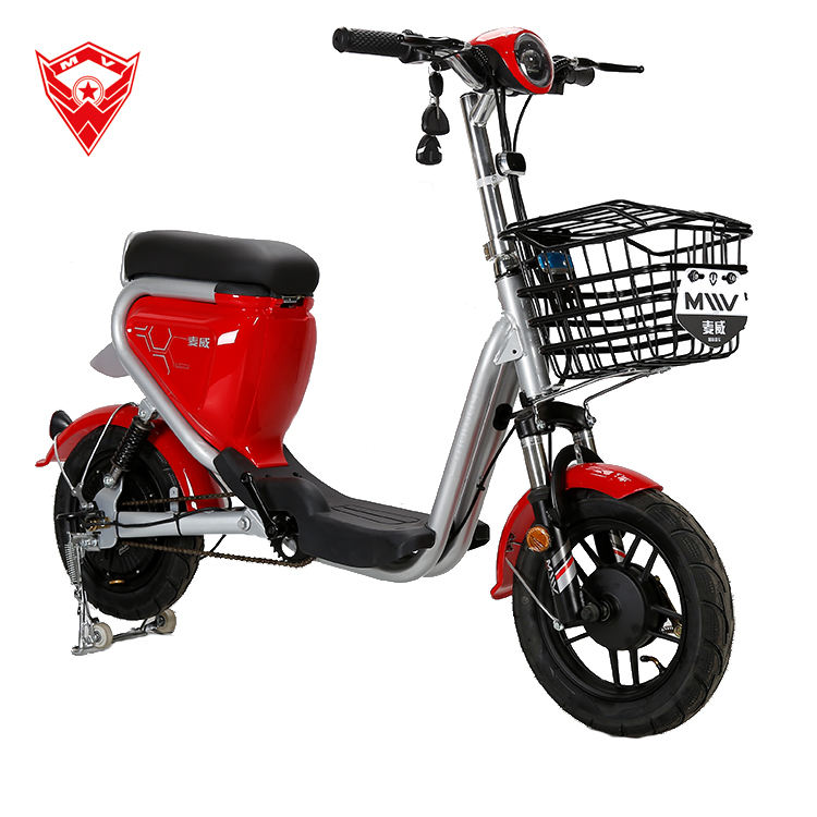2020 NEW light weight 48V16A 350W 500W lithium electric bike two seat lady ride with pedals electric moped