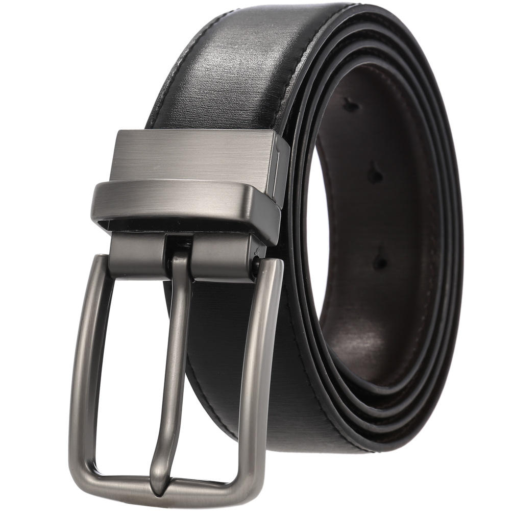 "Men's Casual Golf Dress Belt with 1.3"" Wide Rotated Buckle, One Belt Reverse For 2 Sides, Leather Reversible Belt"