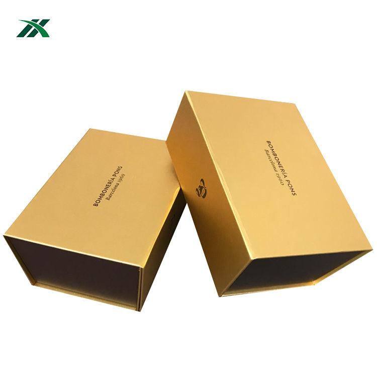 Luxe Logo Imprint Packaging Gold Gift Box for chocolate