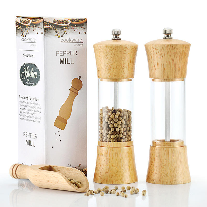 Hot wholesale acrylic 6 inch manual salt and pepper grinder wood