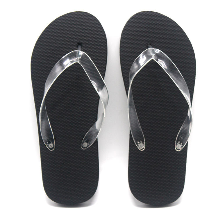 factory cheap plain beach flip-flops washable clear black flip flop , stock transparent spa blank slipper for hotel