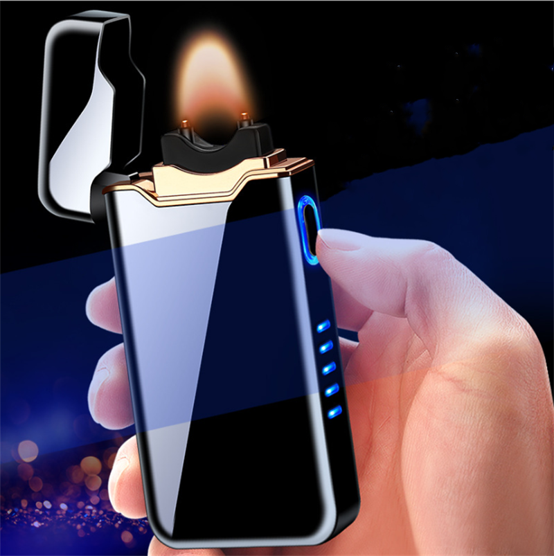 wholesale creative windproof double use open fire electric arc lighter