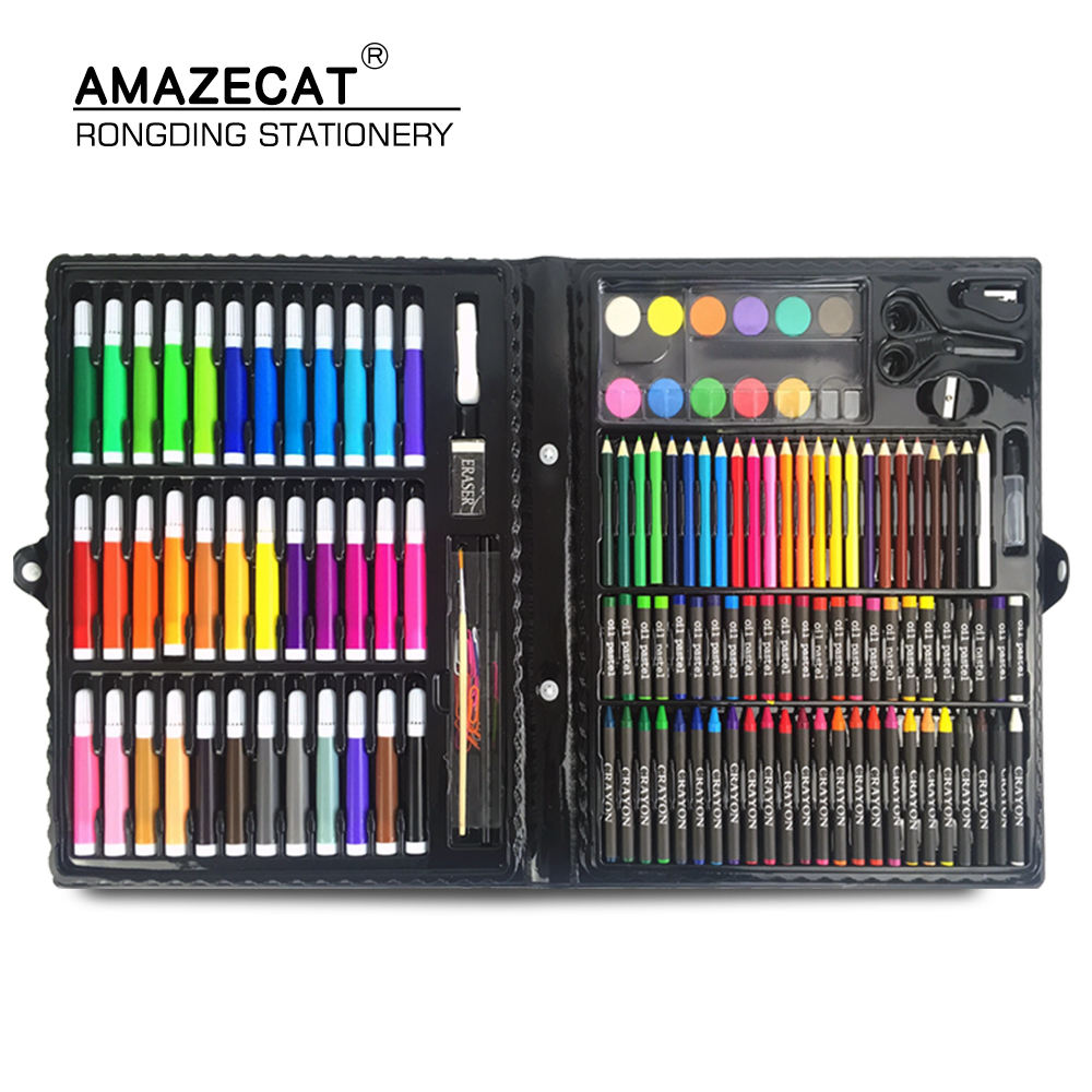 150pcs stationery set promotional Kids pen and pencil crayon watercolor painting brushes children professional art set for gift