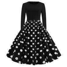 Ecoparty Women's Long Sleeve Polka Dots Vintage Rockabilly Swing Party Dresses