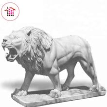 High quality white stone life size lion sculpture for sale