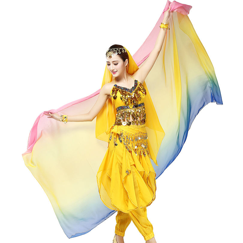 250*120cm Gradient Colors Women's Belly Dance Dancing Costume Veil Scarf Bollywood Performance Costumes