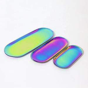 Rainbow Stainless Steel Storage Trays Jewelry Ring Bread Dessert Gift Silver Plate Decoration MP-01