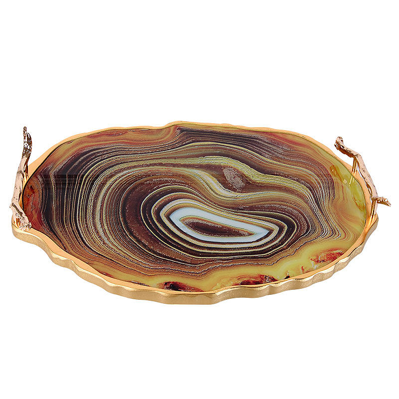 Arabic Hot Selling Brown Agate Pattern Tray Coffee Table Decorative Serving Tray