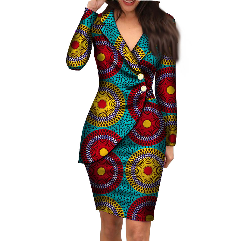 Autumn African Dresses for Women Fashion Office Style V-neck Long Sleeve Print Midi Dress