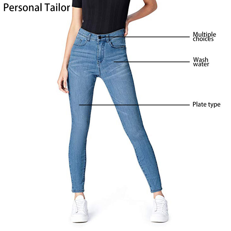 Custom Jeans Women Skinny Straight crazy curvy Denim Jeans Ladies High Waist Super Stretch Fabric Pencil Women Jeans Girls