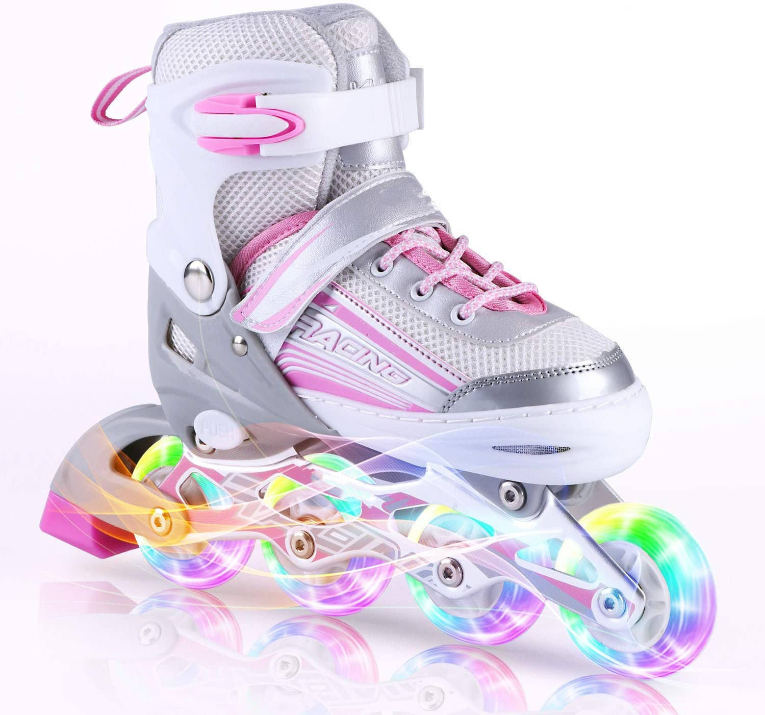 Adjustable for Kids Girls Inline Skates with All Wheels Light up