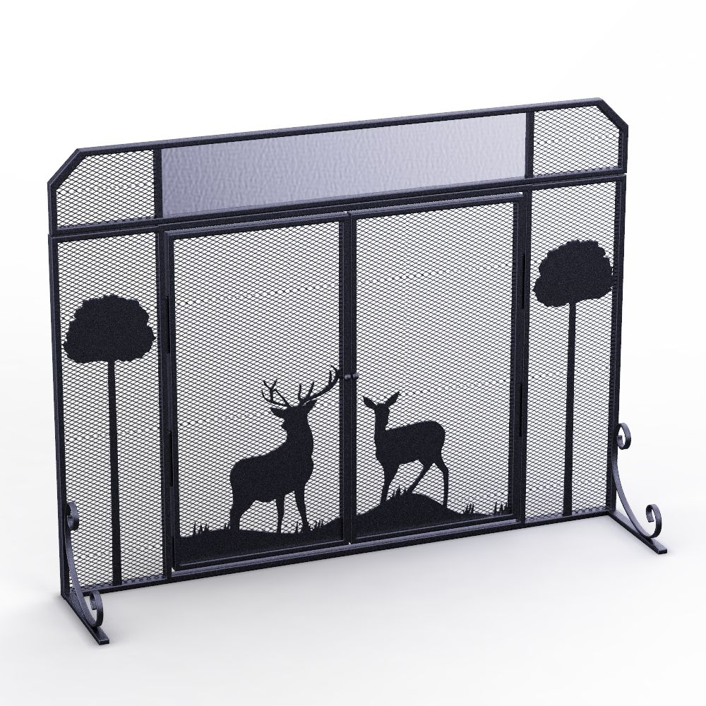 Custom Making Mesh Deer Pattern Metal Fireplace Screen