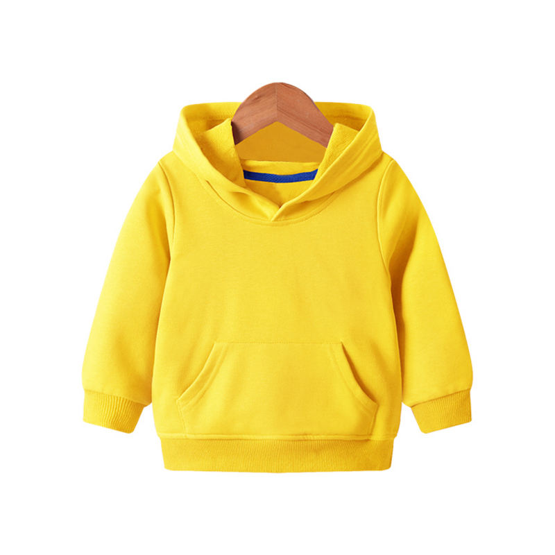 2021 New Winter Outdoor Custom Printing Girl Boy Long Sleeve Plain Clothing Pullover Solid Color Fleece Blank Hoodie Kids