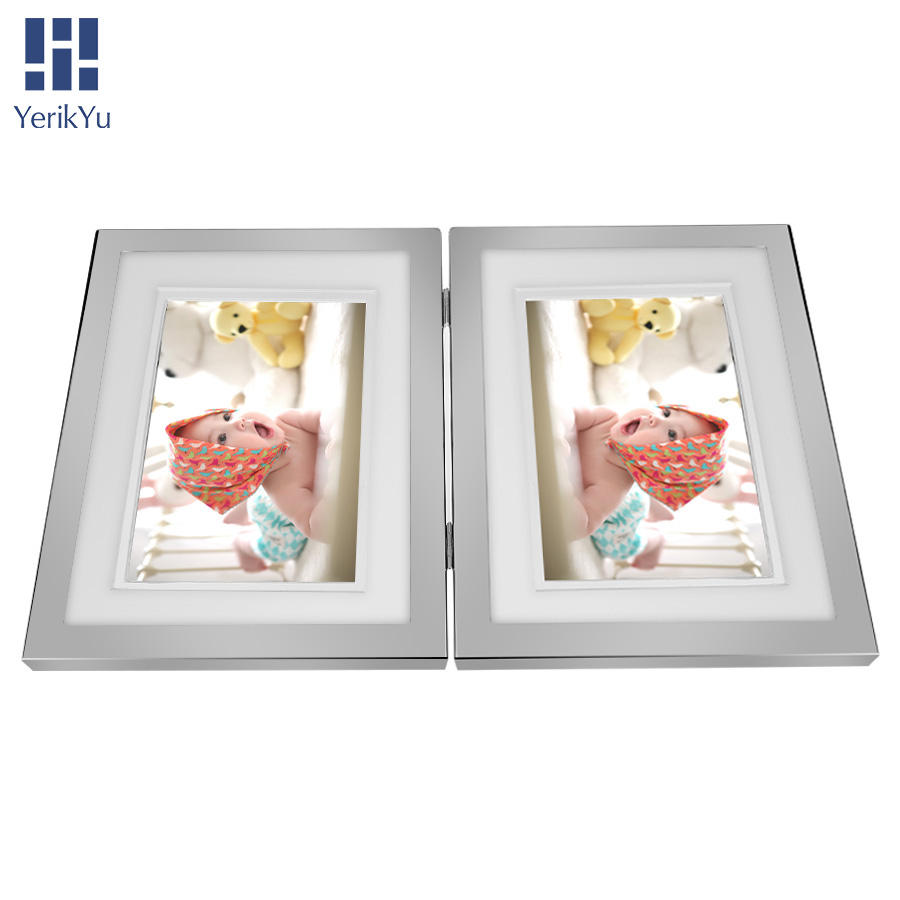 Metal picture frame wholesale 5x7 8x6 iron Folding box photo frame double sided picture frames silver custom