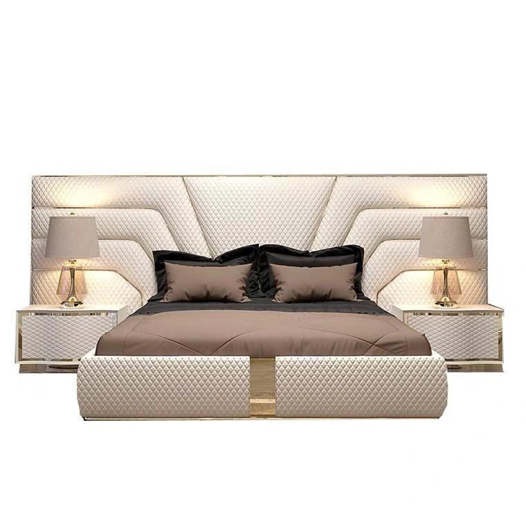 Luxury modern leather upholstered double bed frame king size latest design