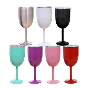 Hot sale china supplier 10oz stainless steel wine mug Metal Drinking Cup Stemmed Goblet Red Wine Glass