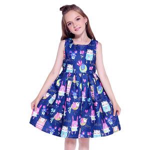 Kseniya Kids girl summer dress design 2019 sleeveless cartoon pattern breathable for causal daily life
