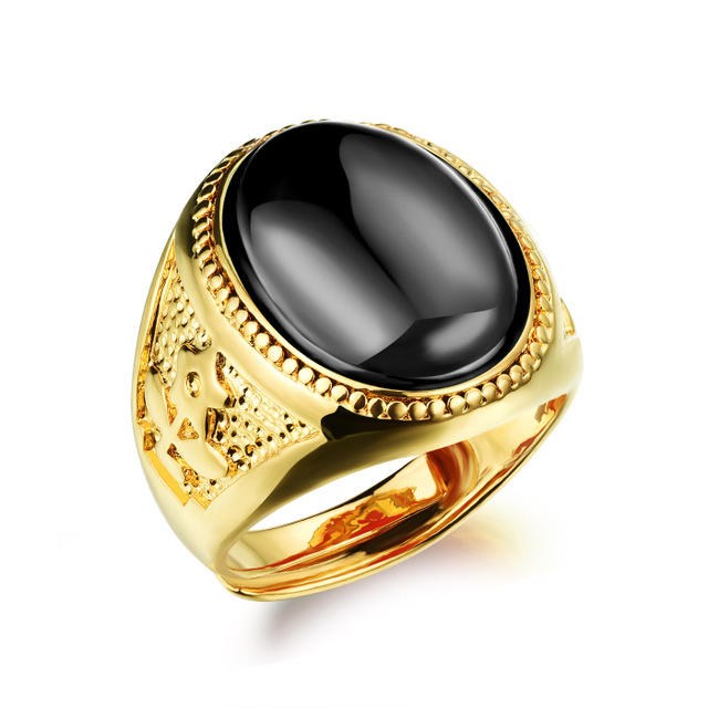 Cheap 18K gold exaggerate agate adjustable men's wedding ring