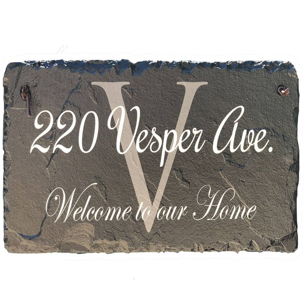 Slate with natural flaws and irregularities - Beautifully Handcrafted and Customizable Slate Home Address Plaque