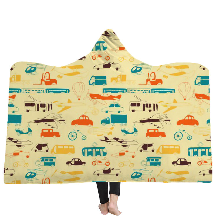 Yutong Group Transport Seamless Pattern Hooded Blanket Sherpa Fleece Wearable Blanket With Hat For Adults Kids Bedding Blankets