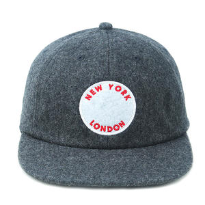 wholesale vintage dark gray wool snapback hat with leather strap