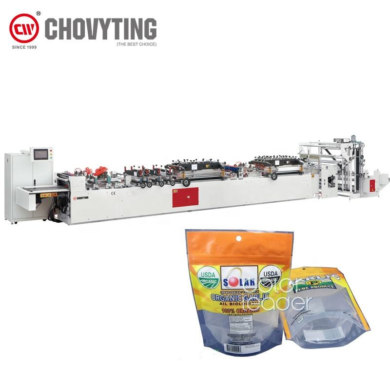 Automatic stand up pouch bag making machine doypack with zipper bag making machine 3 side sealing food snack pouch make machine