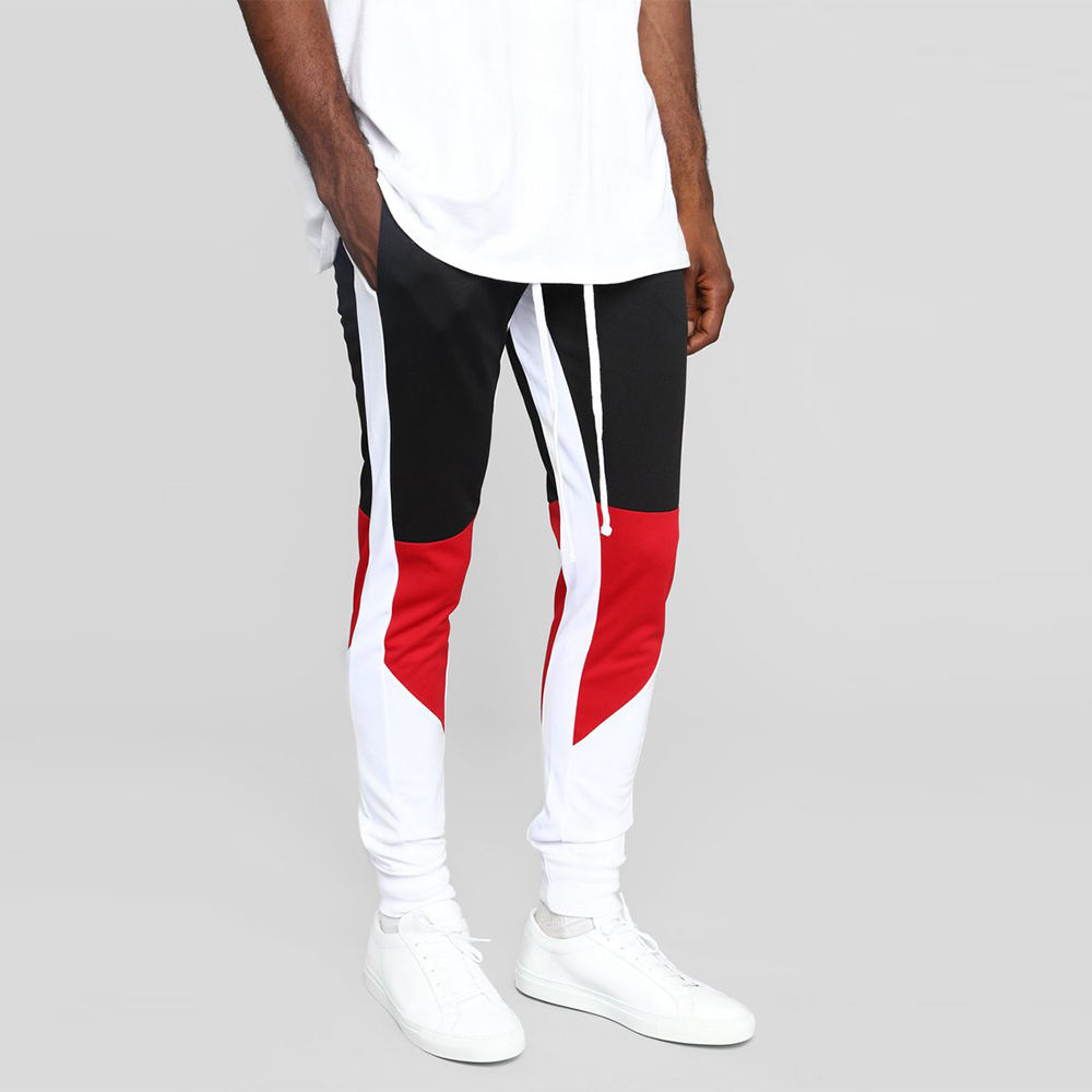 CHINA TOPSHOW clothing polyester fitness pants color block men jogger pants