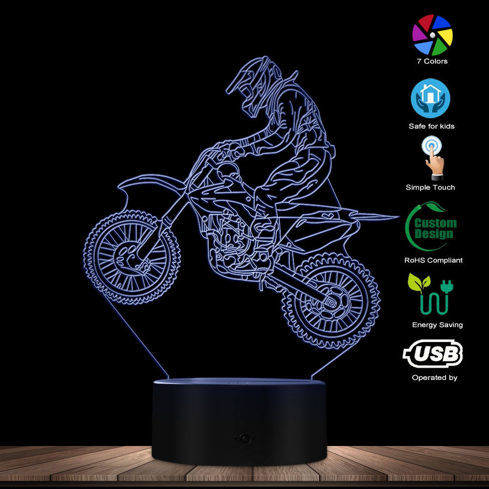 Dirt Bike Bicycle 3D illuminated Lamp Motocross Bike Modern Night Lights with Color Change and Remote Control