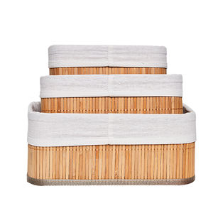 Set 3 natural bamboo storage boxes wholesale basket weaving