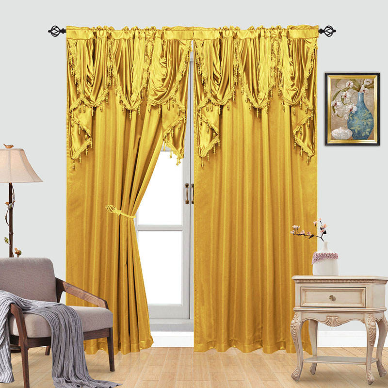 Gold jacquard curtain attached with valance ready made