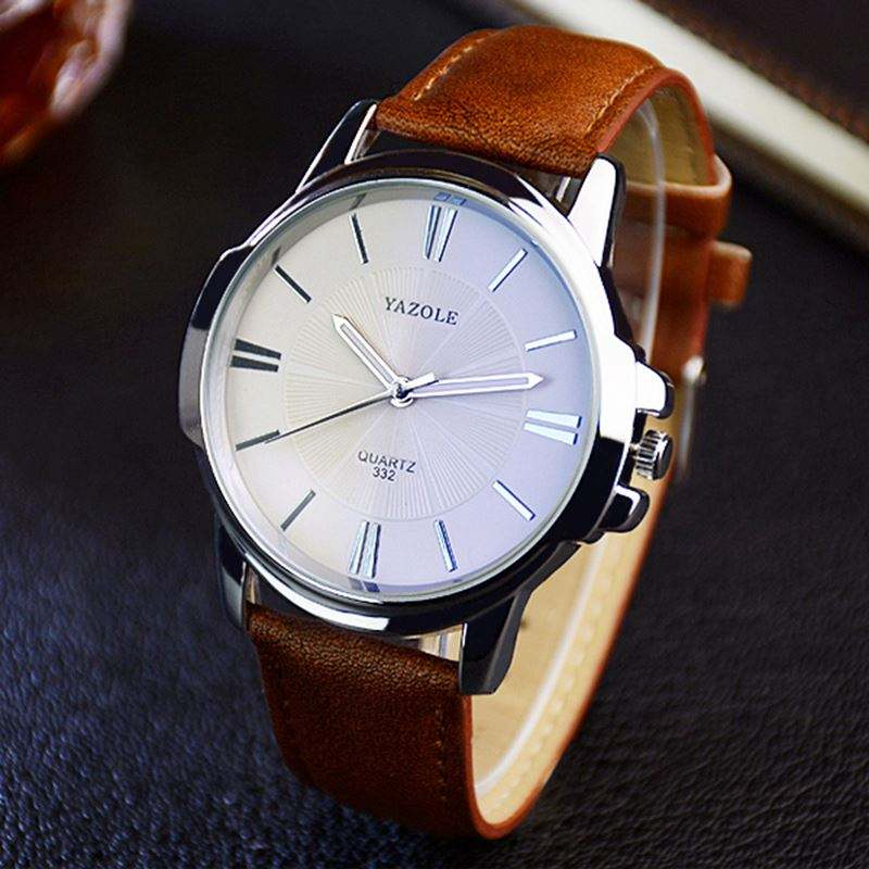 YAZOLE 332 fast time new man quartz watch simple design leather band waterproof analog display Simple business watch factory