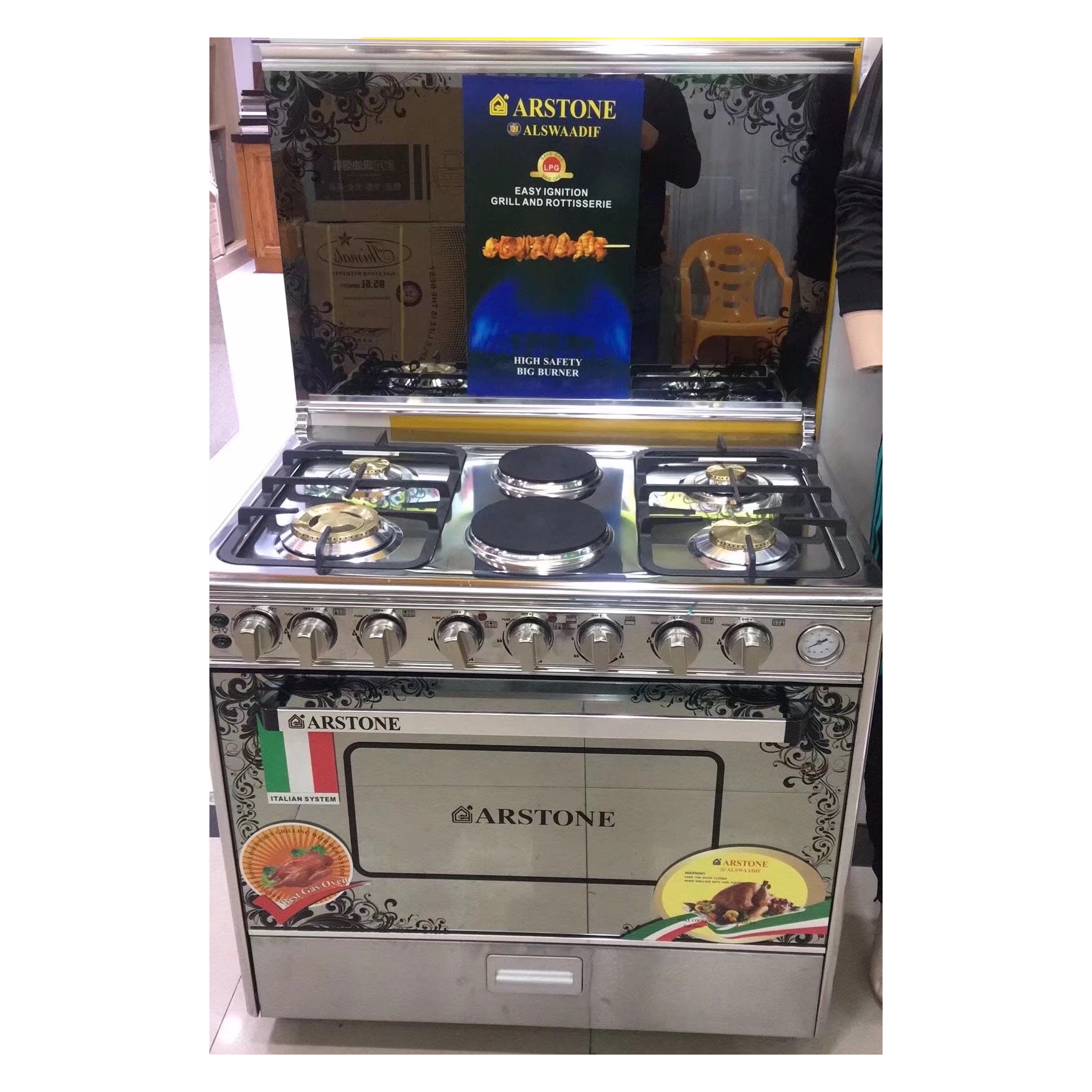 High quality long duration time kitchen freestanding 4 burner 2 hot plate stove with electric oven