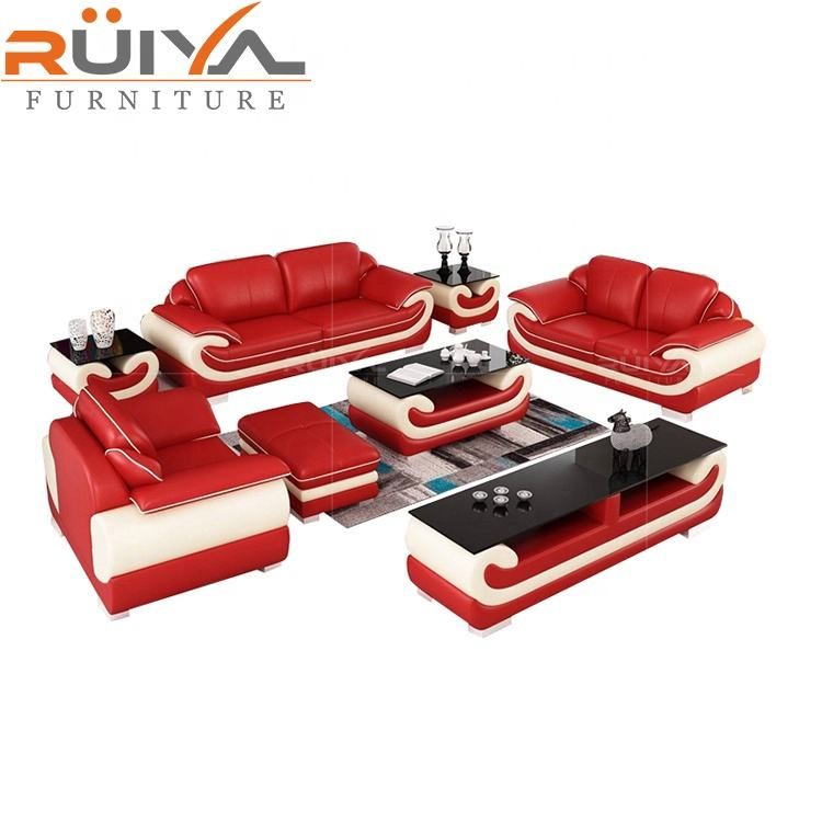 Low wholesale price europe home living room heated red leather sofa 1+2+3